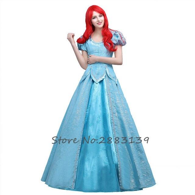 9836c7e4e20 Petite sirène Ariel Cosplay Costume fantaisie princesse Ariel Cosplay ciel  bleu robe pour les femmes adultes