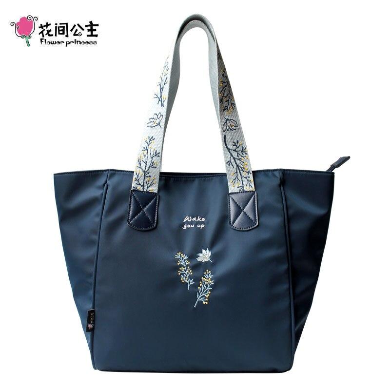 купить Flower Princess Casual Tote Shoulder Bag Women Bags for Women 2018 Wide Strap Embroidery Shoulder Handbags Nylon Female Bag по цене 2552.63 рублей