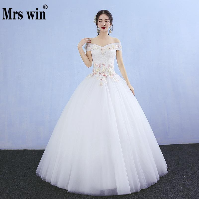Vestido De Noiva 2018 Princess Wedding Dress Ball Gown Off: Colorful Wedding Dress 2018 New Mrs Win Sexy V Neck Ball