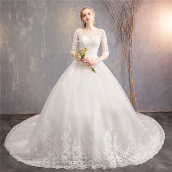 Vestidos De Novia Women's Half Sleeves White Wedding Gowns With Long Train Luxury Ball Gown Lace Wedding Dress With Lace Up