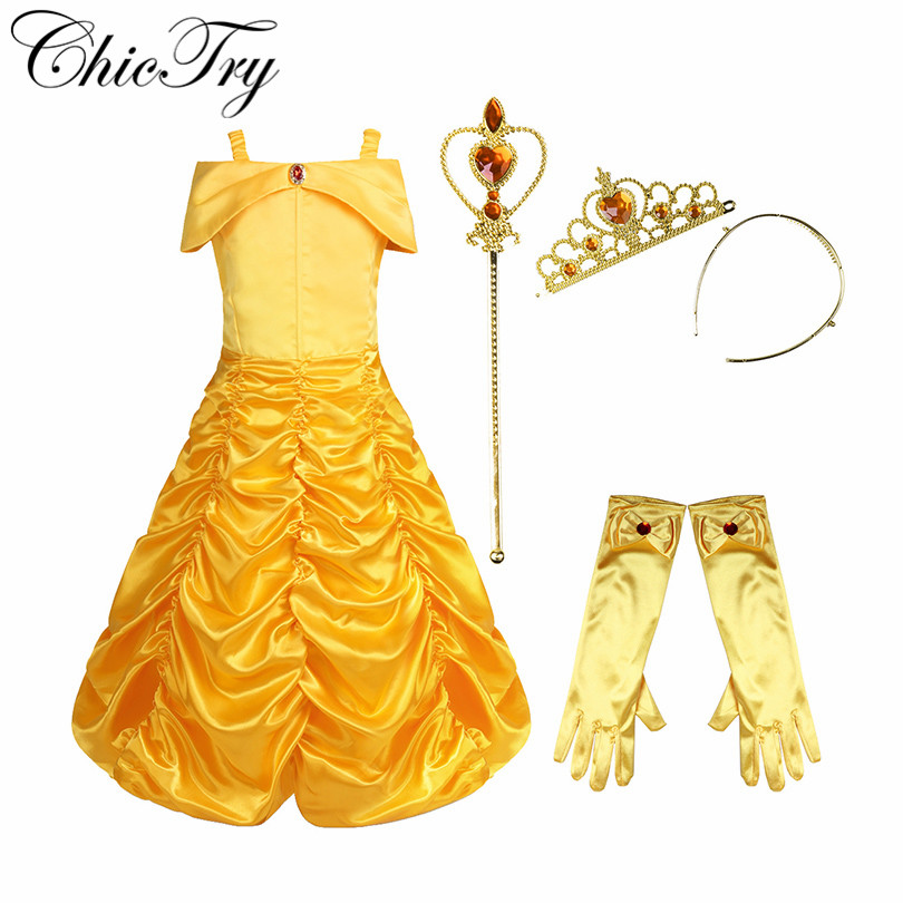 Kids Girls Cosplay Belle Princess Dress Child Party Magic Stick Crown Children Fairy Fancy Party Role Play Halloween Costumes
