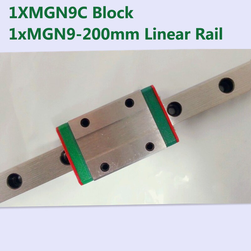 MR9 9mm linear rail guide MGN9 length 200mm with mini MGN9C linear block carriage miniature linear motion guide way for cnc cnc part mr9 9mm linear rail guide mgn9 length 800mm with mini mgn9c linear block carriage miniature linear motion guide way