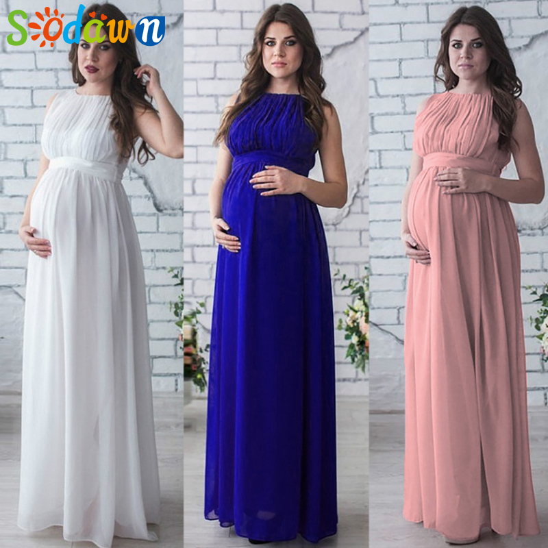 2018 Women Clothes Solid Color Sleeveless T-shirt Photo Photo Long Pregnant Women Chiffon Dress Party Formal Evening Dress summer alluring spaghetti strap sleeveless spliced solid color dress for women