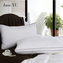 Janeyu Feather Pillow Fashion Health Neck Pure Color Cotton Quilted Embroidery Washed Down