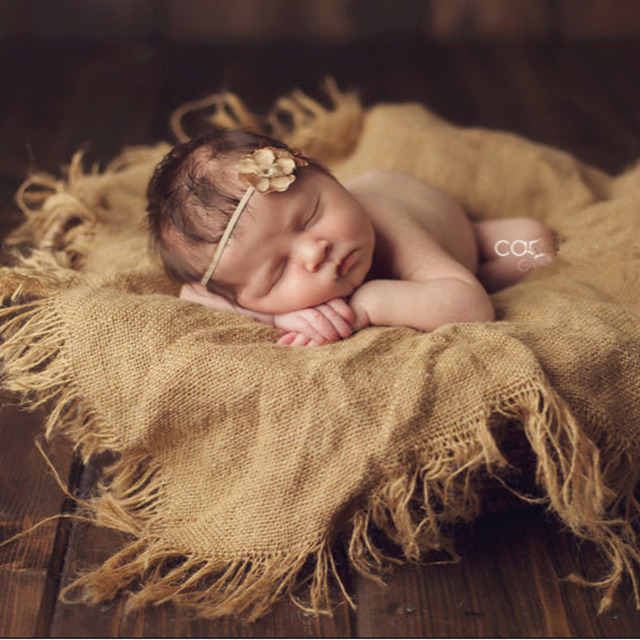 Jute Backdrop Props, Linen Filling Layer Burlap Blanket Newborn Photo Prop Baby Photography Prop Chunky Burlap Layer Net,Hessian