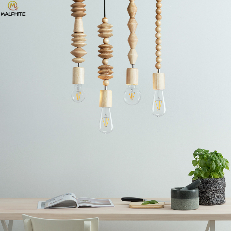 Ceiling Lights & Fans Bright Modern Oak Wood Bead Chain Pendant Lights Retro Hanging Suspension Cord Pendant Lamp Dining Room Stores Bar Lighting Luminaires Attractive Appearance