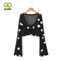 GOPLUS Autumn Hollow Out Pullovers Women Sexy V Neck Flare Sleeve Sweater Girl Casual Handwork Crocheted Blouse Female Top C8988