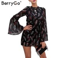 BerryGo Chiffon Print Sexy Jumpsuit Romper Women Lace Up Backless Zipper Short Overalls O Neck Streetwear