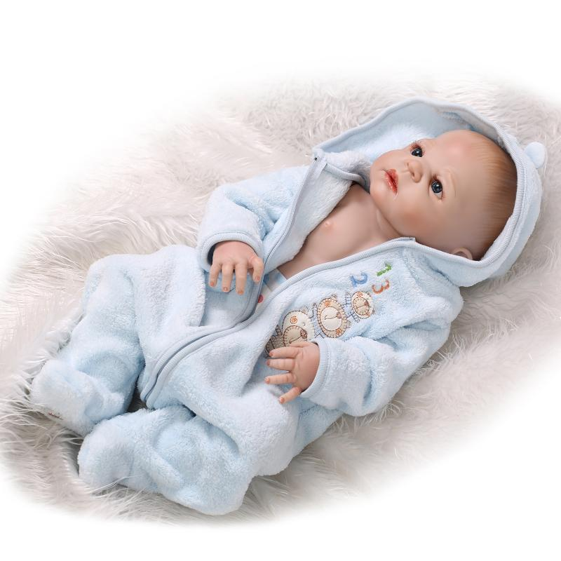 22 Inch Full Silicone Reborn Baby Doll Boys Brinquedos Lifelike Interactive Baby Dolls for Sale Bebe Bonecas