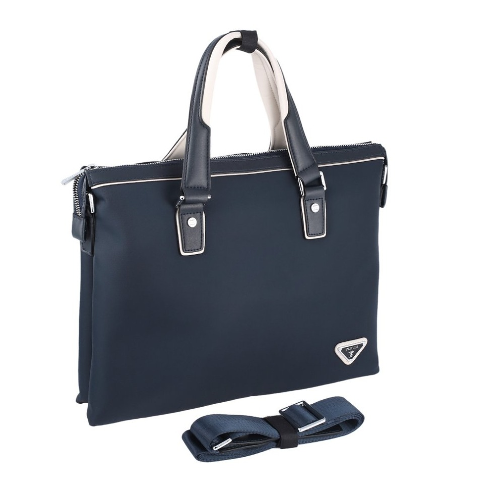 Plover Trendy Solid Color Business Tote Bag Waterproof Zippered Hand Bag with Portable Handles Unisex GD9858-5L portable pp1440 cd zippered bag black page 6