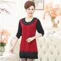 new high quality women autumn spring long sleeve T-shirt fashion medium-long top mother clothing basic o-neck shirt