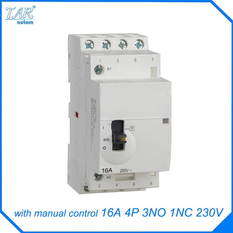 ICT contactor modular rails home small AC contactor 16A 4P 3NO 1NC