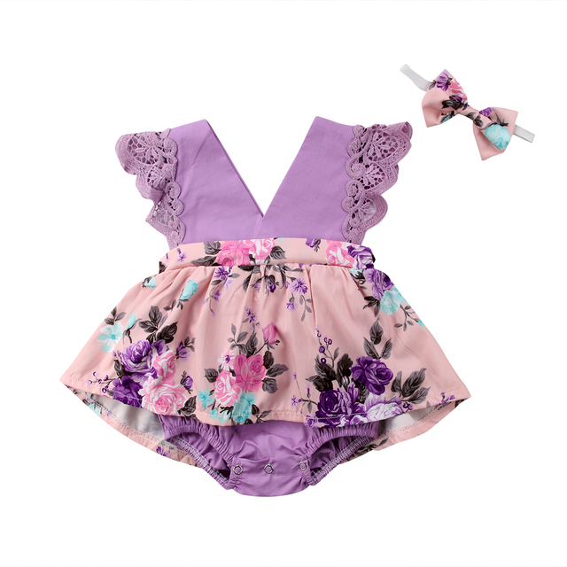 e9e88acf9613 2018 Sister Sweet Purple Lace Floral Newborn Baby Girls Kids Tutu Romper  Sundress Outfits