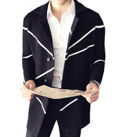 Géométrique Hommes Chandail De Mode Long Cardigan Lâche Long Mens Cardigans Pour Homme Élégant Élégant Heren Long Tricoté Cardigans