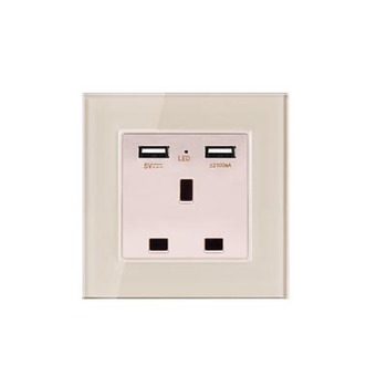 with USB Champagne Gold 1 2 3 4 Gang 1 Way 2 Way Glass Mirror Switch 86 type Wall Switch France Germany UK socket Household 19