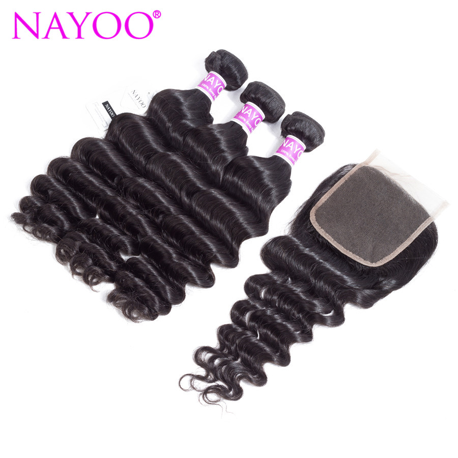 NAYOO Indian Remy Hair Weave 3 Bundles With Closure Loose Deep Human Hair Bundles With Lace Closure 130% Density