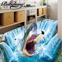 Custom Photo 3d Flooring Mural Self Adhesion Wall Sticker 3 D Shark Waterfall Penguins Painting 3d