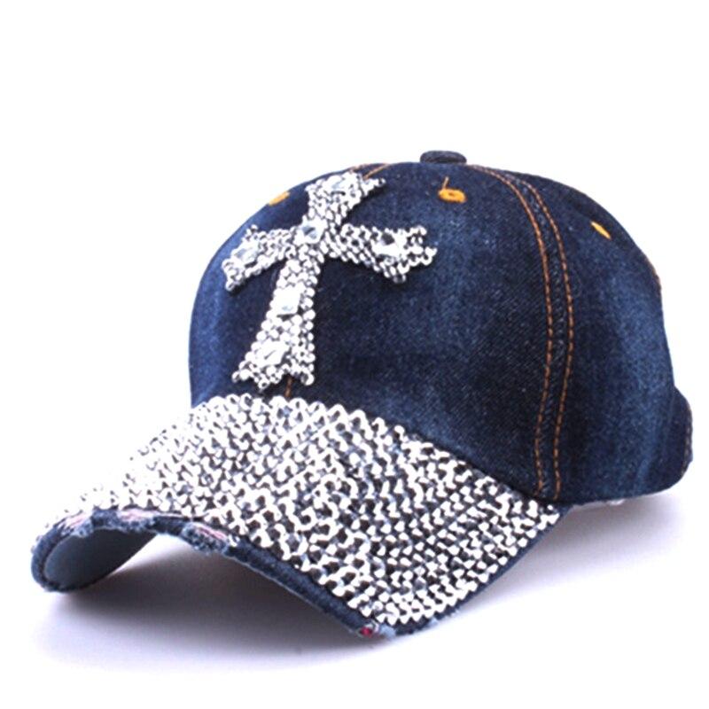 Prix pour 2017 Mode Denim Croix Strass casquettes Femmes snapback casquette de baseball Féminin Jeans hip hop chapeau Gorras Casquette Os ZXM-JY-370