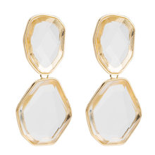 LUBOV 3styles Geometric Crystal Stone Dangle Earrings Gold Color Metal Frame Drop for Women Birthday Gift Party Jewelry