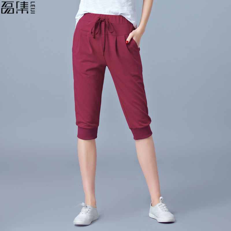 Trousers for women High Waisted Elastic loose plus size Joggers Sweatpants Calf Length female summer Capris harem pants