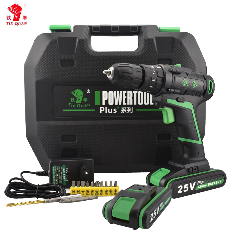 25V Electric Hammer Drill Cordless Drill Electric Screwdriver 2 Battery Impact Drill Home DIY Station Multifuctional