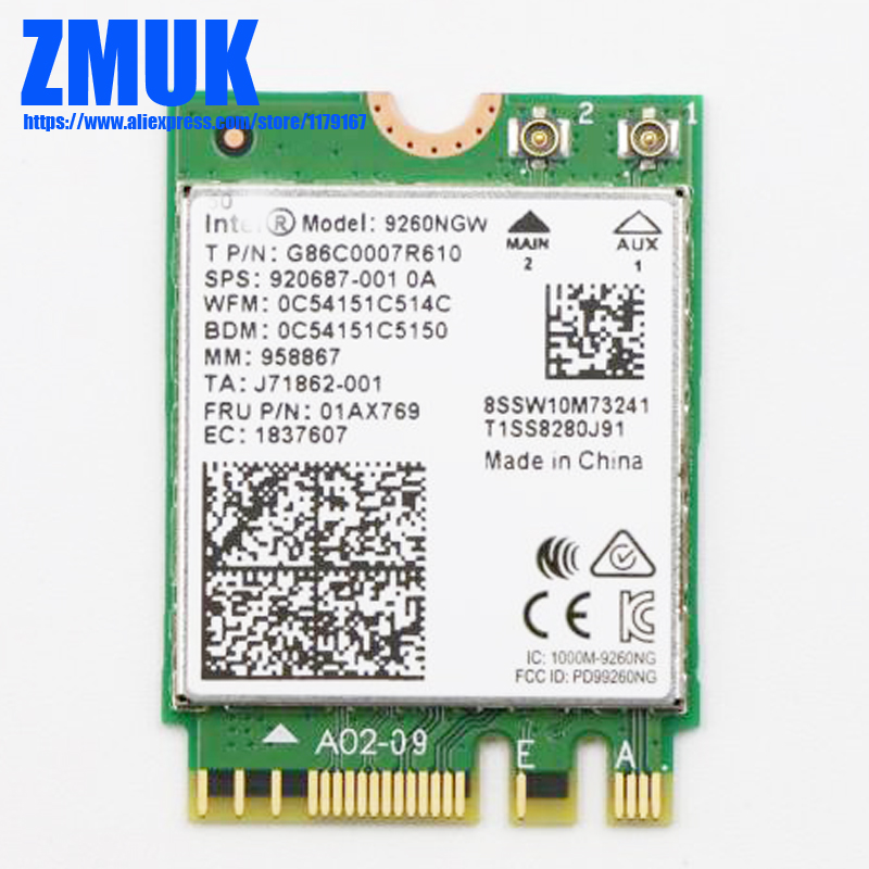 Int Dual Band Wireless-AC 9260NGW tarjeta WiFI para Lenovo Thinkpad X1 carbono 6th Gen X1 Yoga 3rd generación Serie P/N 01ax769 SW10M73241 Antena 5G WiFi de doble banda 6DBi omnidireccional, Conector de clavija, Base magnética 667C