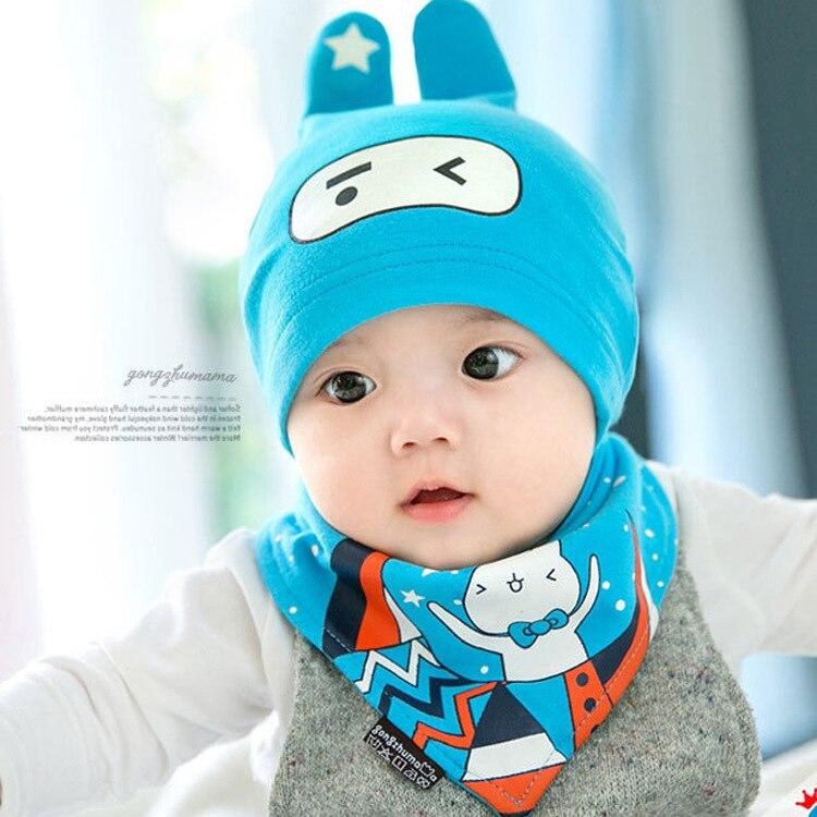 Spring Summer Cartoon Bunny Infant Newborn Hat Bib Set Soft Baby Beanie Bibs 2pcs Boys Girls Skull Hat