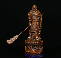 christmas 8 Folk Collect Boxwood wood Carve GuGong Guan Yu military officer God Statue halloween