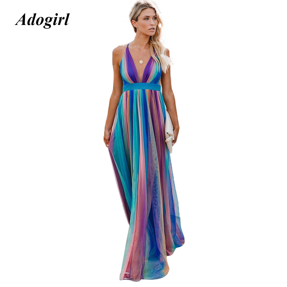 Elegant Colorful Striped Print Chiffon Long Dress Women Casual Spaghetti Strap Backless Maxi Dress Sexy Evening Party Dresses