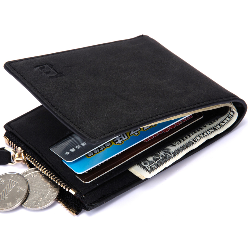 Vitage Zipper Men Wallets Leather Wallet Money Bag Credit Card Holders Dollar Bill Wallet Clutch Purse for Boy Use Short Wallets(China)