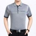 2017 новый бренд мужские polo рубашка мода Полосатый Camisa хомбре коротким рукавом отложным воротником Вскользь уменьшают Поло мужчины плюс размер