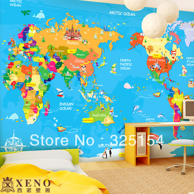 The Large Mural Wallpaper Of Children S Bedroom Background Wall Cartoon Map World