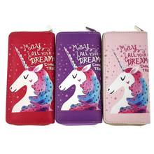 KANDRA New Purple PU Leather Unicorn Wallet Women Long Card Holders Phone Bag Star Print CAMPUS  Every Day Wholesale