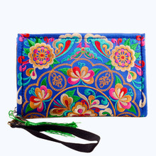 women 100% pure handmade National Trend Embroidery Bag lady clutch Wallet Double Faced Embroidered Coin Purse Clutch Handbag(China)