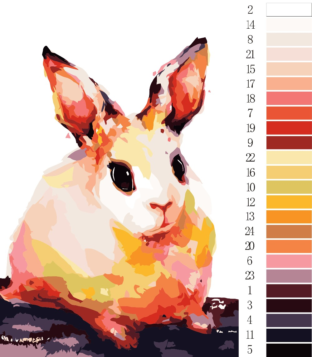 Coloring by numbers for rabbits - Unframe Oil Paint Painting By Numbers Diy Picture Drawing Coloring By Numbers On Canvas Painting By Hand Painted Rabbit Szh 14
