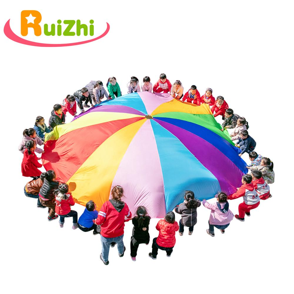 Ruizhi Children Rainbow Umbrella Parachute Toy Jump-Sack Ballute Play Teamwork Game Outdoor Sports Kids Toys Gift RZ1006