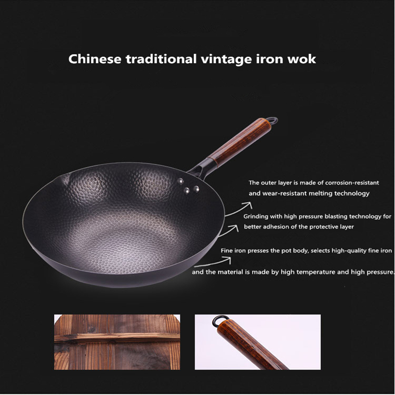 Non-Coating Non-Stick Iron Hand Forged Woks Pan 4