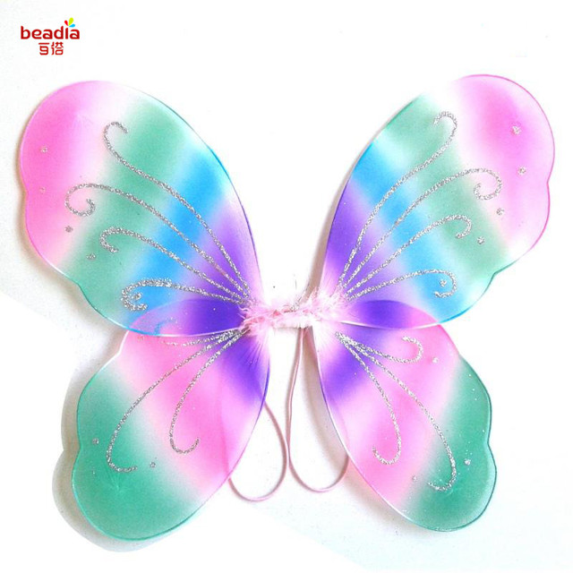 49b29e23ad 1pc bag size 35x42cm Colorful SilkButterfly Wings Kids Girl Princess Fairy  Butterfly Wings Wedding Halloween Party Decor