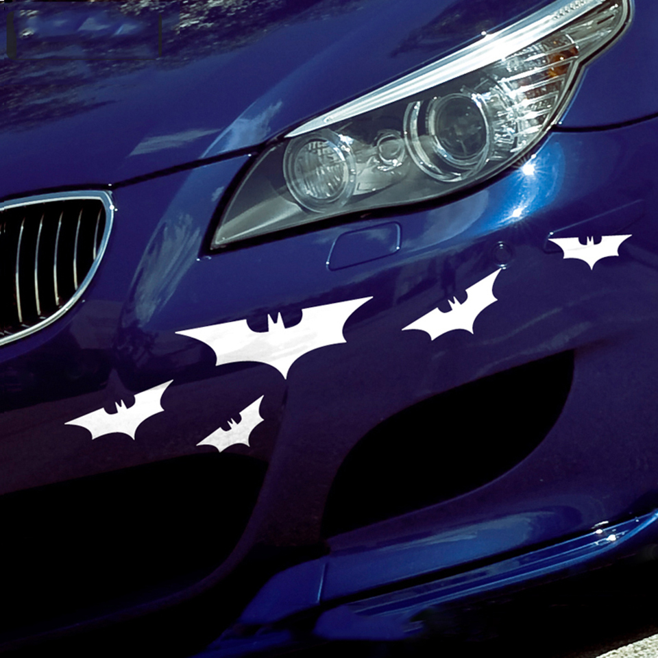 Image 2 - 5Pcs White,Black Car Bat Cartoon Vinyl Body Tailgate Decal Motorcycle Sticker OCT 9-in Car Stickers from Automobiles & Motorcycles