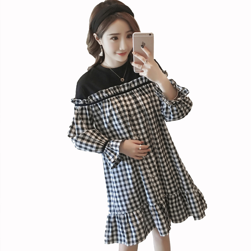 Loose Maternity Dress Spring Autumn Cotton Maternity Clothes for Pregnant Women Dress Fashion Lattice Dress C315