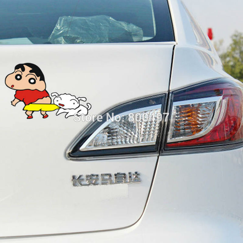 Us 2 19 Car Covers Funny Cartoon Crayon Shin Chan With Dog Car Stickers Accessories Decal For Ford Fiat Peugeot Vw Honda Mazda Opel Lada In Car