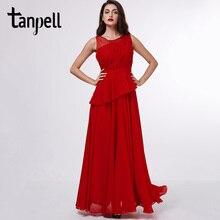 Tanpell scoop long evening dress red sleeveless a line floor length dresses women black chiffon draped formal prom evening dress