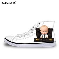 INSTANTARTS панк повседневное детей спортивная обувь Стильный мультфильм босс ребенок печати удобные детские туфли без каблуков парусиновая