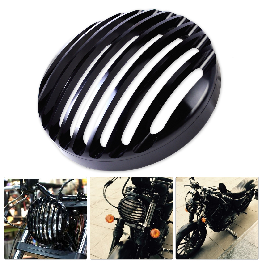 DWCX New Black Aluminum Headlight Grill Cover for Harley Davidson Sportster XL 883 1200 2004-2008 2009 2010 2011 2012 2013 2014 car rear trunk security shield shade cargo cover for nissan qashqai 2008 2009 2010 2011 2012 2013 black beige
