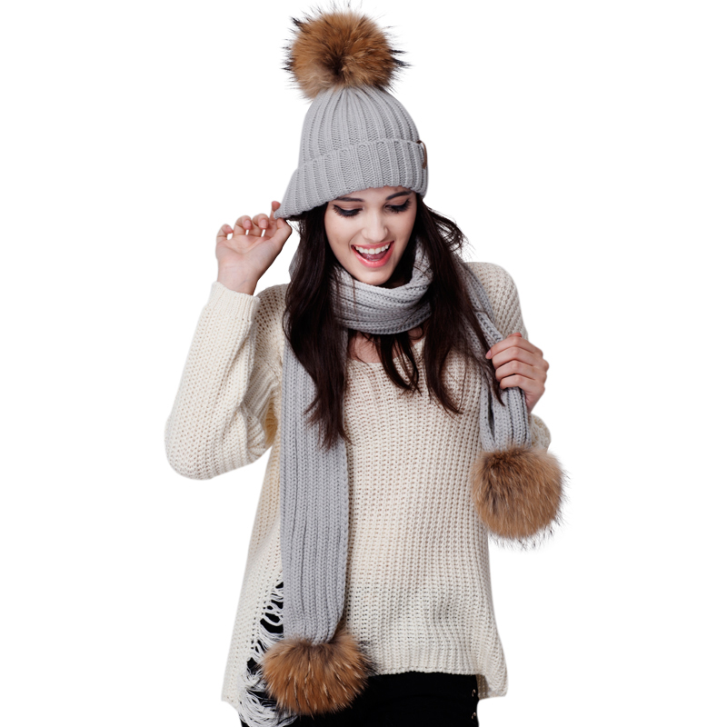 FURTALK women pom pom hat and scarf set double pom pom detail chain necklace