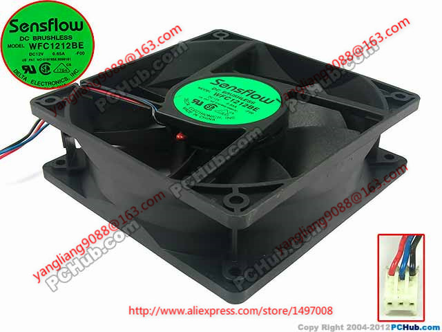 Free Shipping For  Delta WFC1212BE, -F00 DC 12V 0.65A 3-wire 3-pin connector 40mm 120x120x38mm  Server Square Cooling fan mick johnson motivation is at