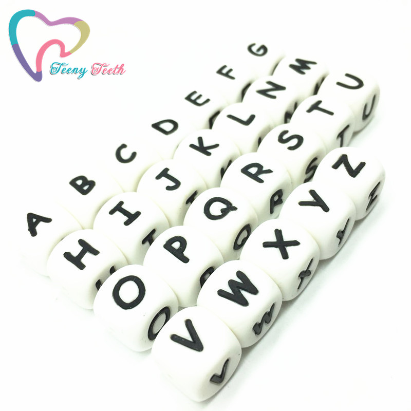 Teeny Teeth 10 Pcs Letter A Bpa Free Silicone Beads English Alphabet Food Grade Silicone Letter Cube Diy Jewelry Loose Beads Jewelry & Accessories Beads