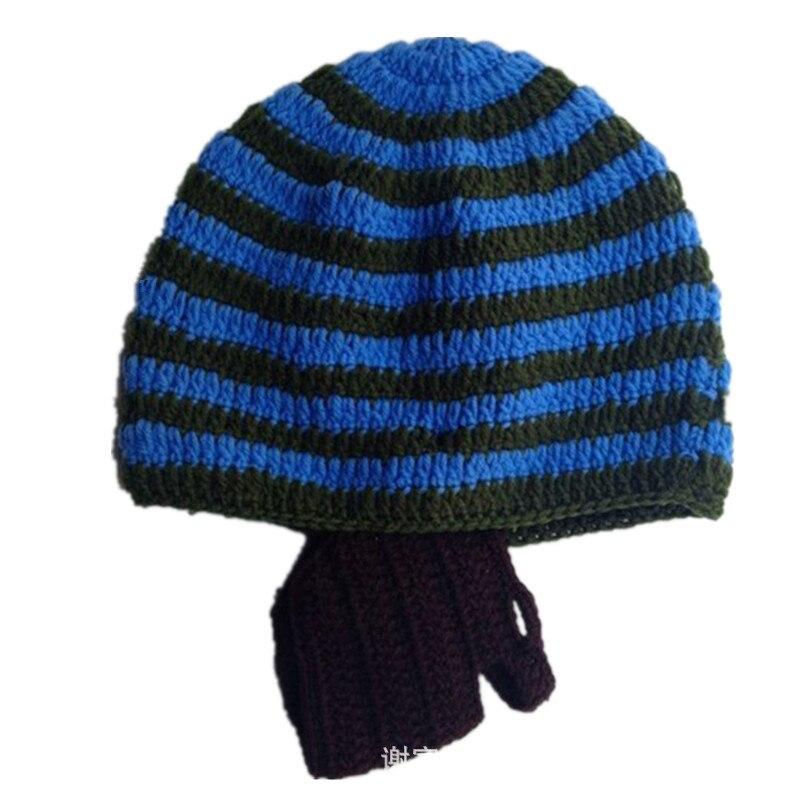 Kids Winter Hats Viking Pirate Hats With Beard Cosplay Crochet