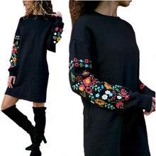 MISAUU Sexy Women Floral Print  knee-length Dress Fashion Boho Loose Elegant Black Vintage Dresses 2018 Winter Vestidos