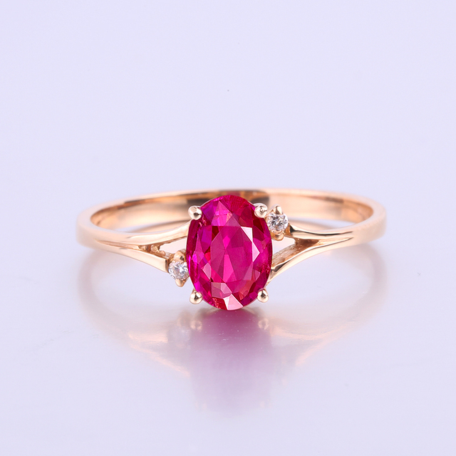 Robira Natural Ruby Diamond Wedding Rings For Women Jewelry 18K Rose